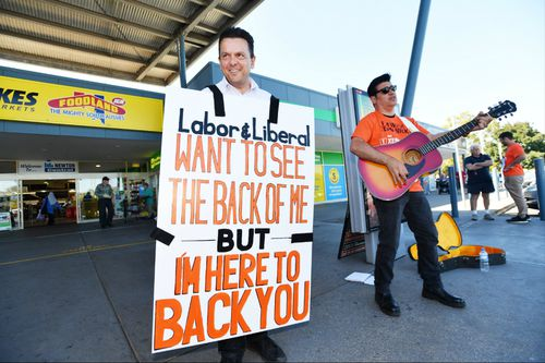 SA Best Leader Nick Xenophon outside the Newton shopping centre in Adelaide. (AAP)