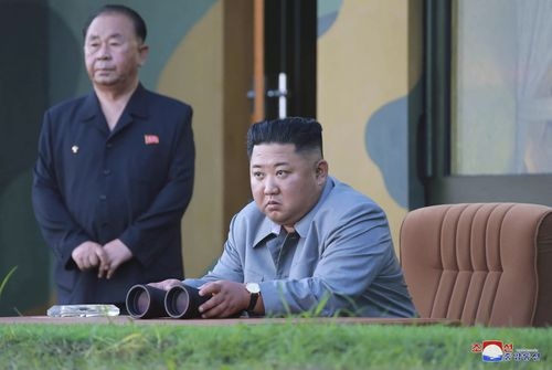 North Korean leader Kim Jong Un watches a missile test in North Korea, on August 10, 2019. North Korea extended a recent streak of weapons display by firing projectiles twice into the sea.