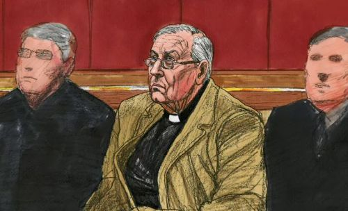 Cardinal Pell in court today. (9NEWS)