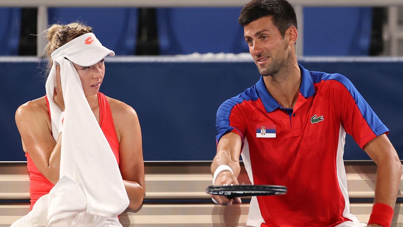 Novak Djokovic of Team Serbia and Nina Stojanovic
