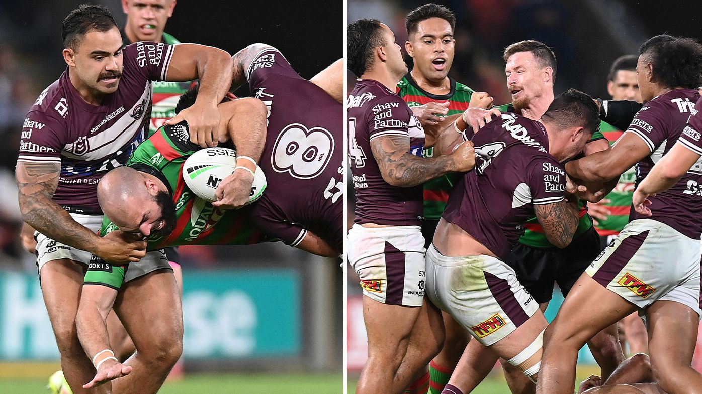 Ugly Josh Aloiai spear tackle ignites all-in scuffle as Rabbitohs clinch grand final berth