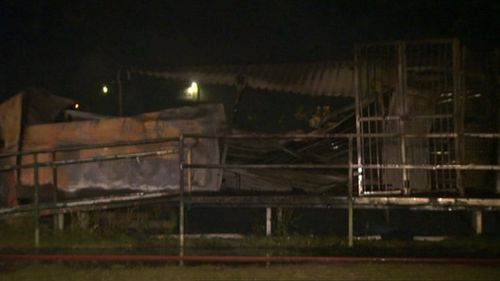 An old demountable was completely destroyed in a fire overnight. (9NEWS)