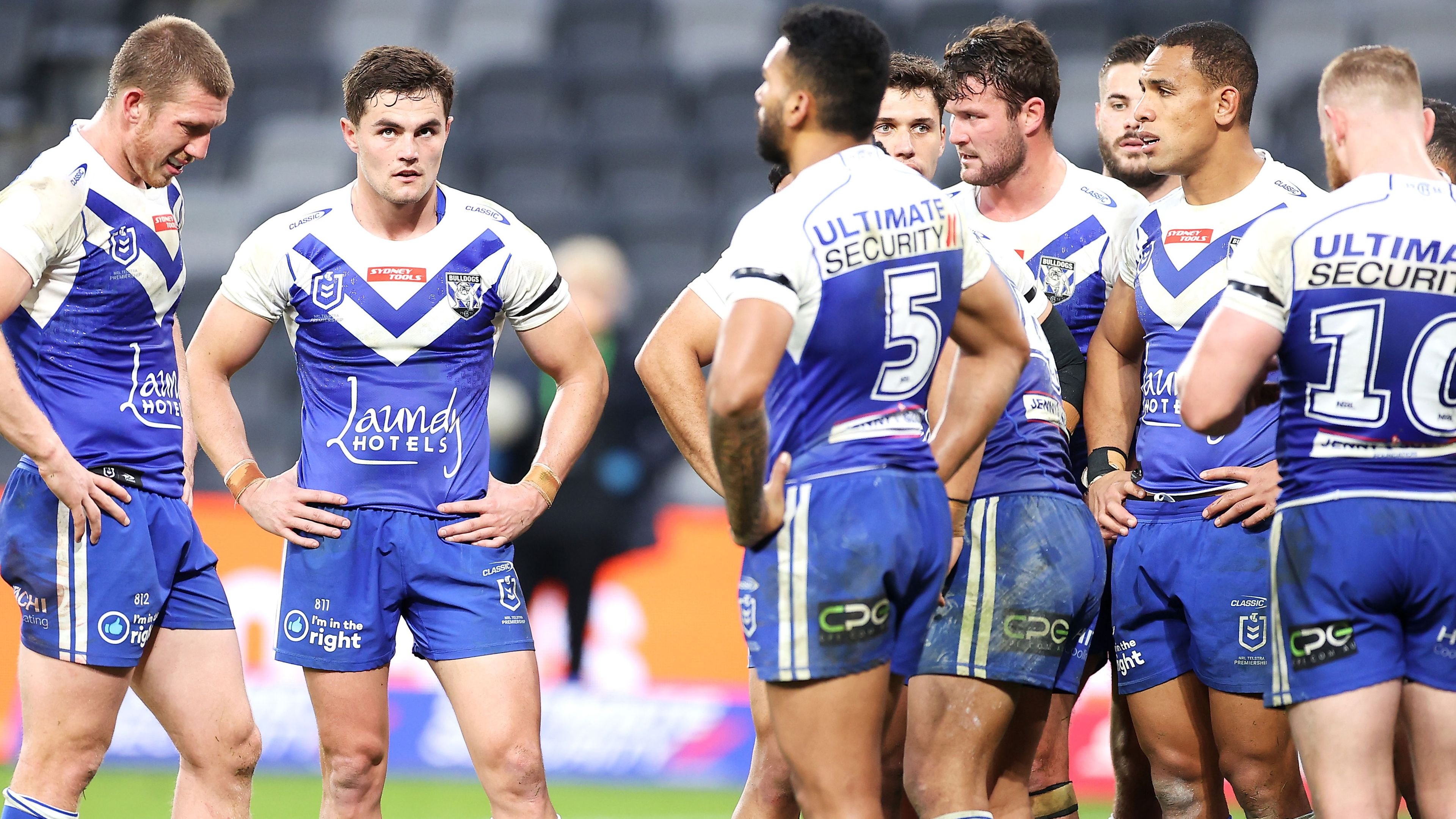 Canterbury Bulldogs players react to conceding against Manly.