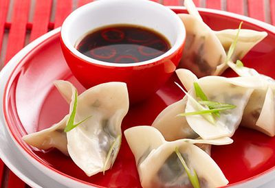 Spinach and shiitake dumplings
