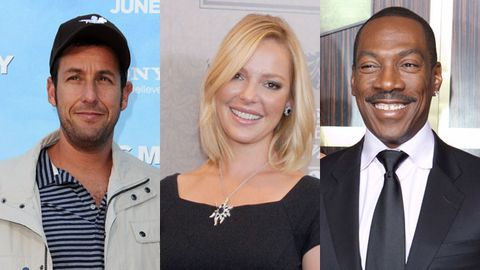 Adam Sandler (left), Katherine Heigl (centre) and Eddie Murphy (right). Images: Getty