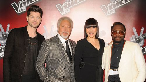 Jessie J with her fellow The Voice UK coaches Danny O'Donoghue, Sir Tom Jones and will.i.am. (AAP)