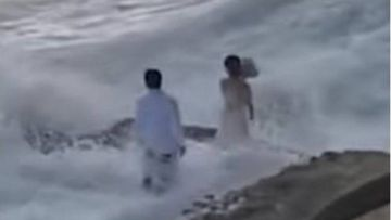 California wedding photoshoot couple washed out to sea