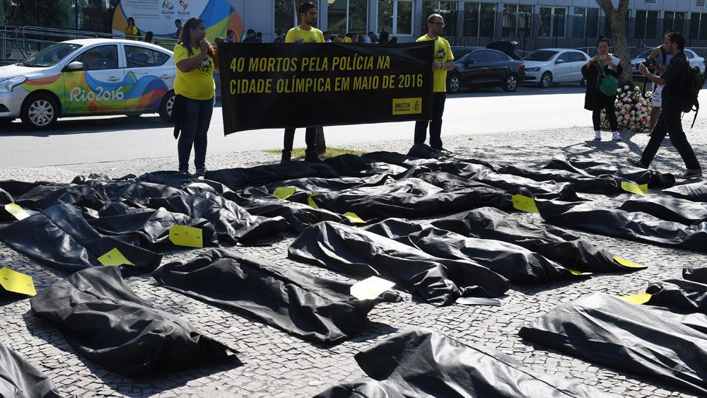 Forty body bags were placed outside the Organising Committee's offices. (AFP)