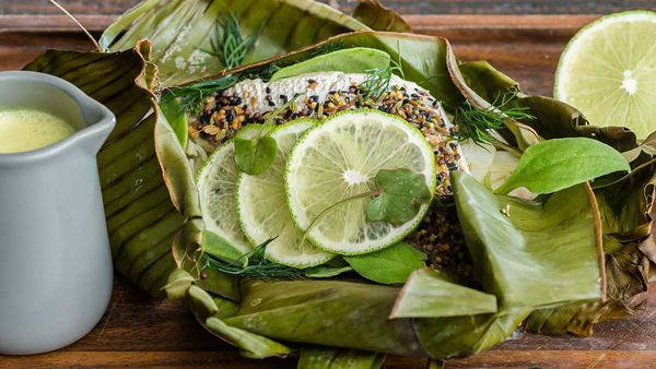 Indu's whole snapper baked in banana leaf with five-spice, string hoppers and coconut moilee recipe