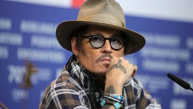 "Johnny Depp attends the ""Minamata"" press conference during the 70th Berlinale International Film Festival Berlin at Grand Hyatt Hotel on February 21, 2020 in Berlin, Germany"