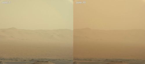 This combination of images made by NASA's Curiosity rover shows the rim of Mars' Gale Crater on June 7 and June 10 during a major dust storm.(AP).