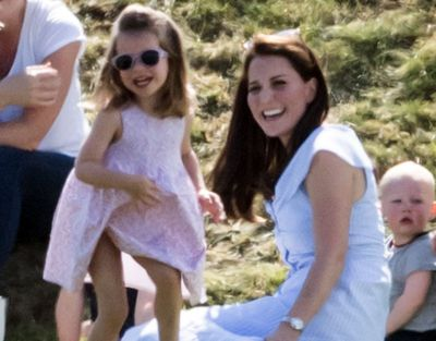 Princess Charlotte with Kate Middleton at the polo, June 2018