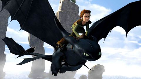 How to Train Your Dragon flying to TV