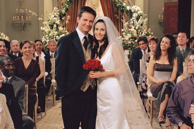 """<div align=""""left""""><B>When:</b> 2001<br/><br/>Sure, we can all agree it was a lot more fun when Monica (Courteney Cox) and Chandler (Matthew Perry) were keeping their relationship a secret, but you can't say their wedding wasn't nice, even if it was a bit typical by TV wedding standards. I mean, not only did we get a co-star officiating the ceremony for no good reason — thanks, Joey (Matt LeBlanc) — but we got the groom doing a runner too!</div>"""