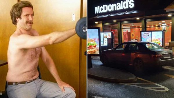 Ron Burgundy exercise meme / UK men busted for travelling to McDonald's during lockdown