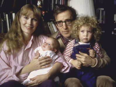 Actress Mia Farrow, Woody Allen, son Satchel, daughter Dylan