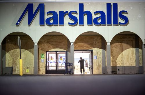 A Marshalls store is boarded up while remaining open ahead of tomorrows general election in Dearborn, Mich., Monday, Nov. 2, 2020. (AP Photo/David Goldman)