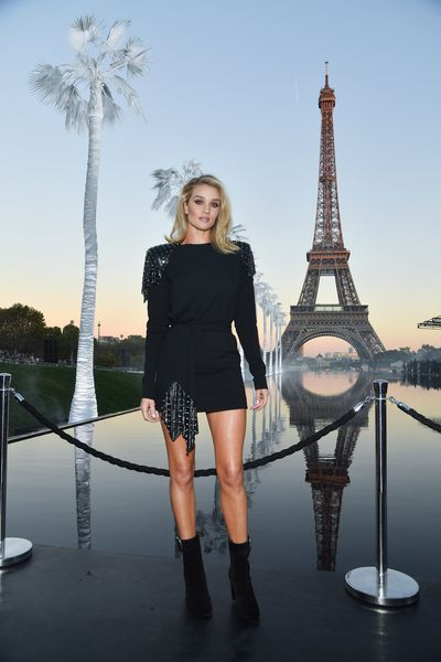 Rosie Huntington-Whiteley attends the Saint Laurent show as part of the Paris Fashion Week