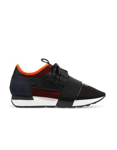 """These luxe leather, mesh and neoprene sneaks make the workday commute or dashing to appointments a breeze, while looking super chic. They'll give a simple monochrome workday outfit an instant style upgrade and the pop of colour offers a sporty yet professional edge. <br> Balenciaga Race Runner leather and neoprene sneakers, $925. <a href=""""https://www.net-a-porter.com/au/en/product/743163/Balenciaga/race-runner-leather-mesh-suede-and-neoprene-sneaker"""" target=""""_blank"""">Netaporter.com</a><br>"""