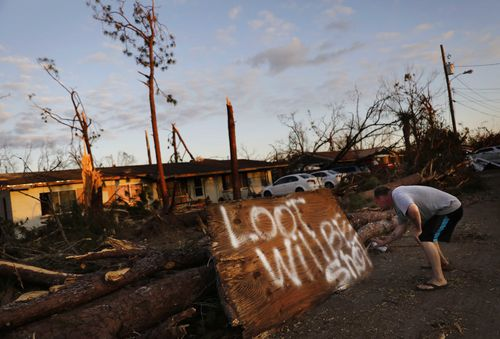 Florida authorities have tried to get water and supplies out tio survivors of Hurricane Michael, but some looting has happened since the storm hit last week.