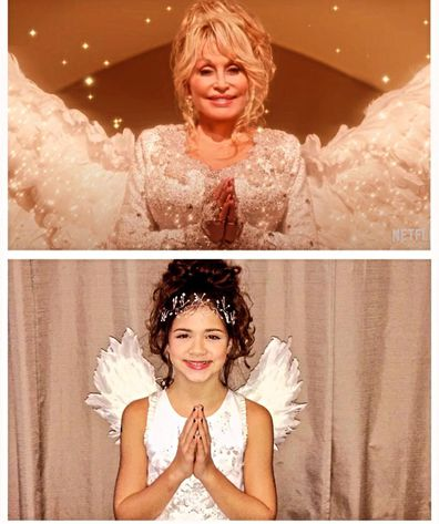 Dolly Parton and Tahlia Hill star in Christmas on the Square.