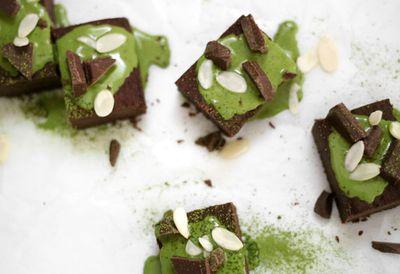 Choc black bean brownies with coconut matcha ganache
