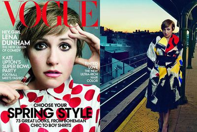"""Lena Dunham stepped out of the shadow of her daggy character Hannah from GIRLS with a super chic <i>VOGUE</i> spread. Unsurprisingly, it caused a similar outrage to the Kimye cover, but mostly because of all the photoshopping action that was spotted. <br/><br/>Looking noticeably thinner on those glossy pages, Lena told Slate France """"I don't understand why, Photoshop or no, having a woman who is different than the typical Vogue cover girl, could be a bad thing.""""<br/>"""