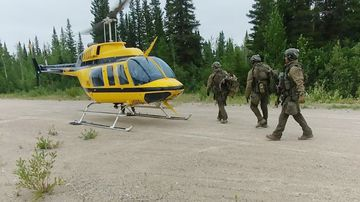RCMP officers searching in the Gillam area on Manitoba for Bryer Schmegelsky, 18, and Kam McLeod, 19.