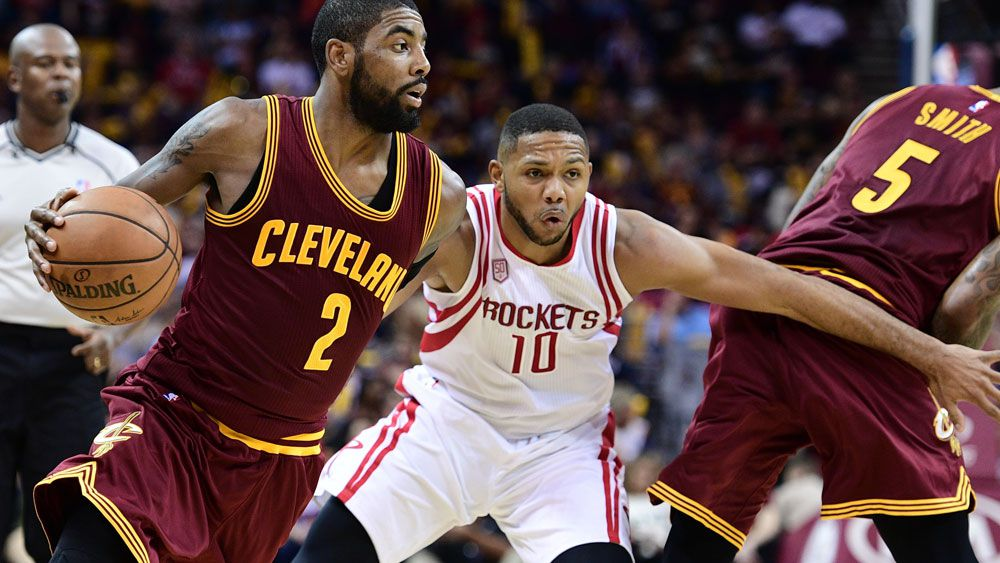 Kyrie Irving on the attack against the Rockets.(AAP)