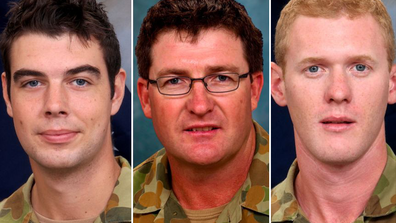 Sapper James Martin (left), Lance Corporal Stjepan Milosevic, and Private Robert Poate (right) all died in the ambush.