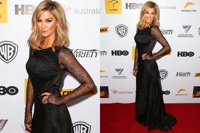 Delta Goodrem danced her way down the red carpet in a smouldering Johanna Johnson gown and some statement jewels. <br/>