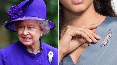 Queen Elizabeth's Carrington feather brooch