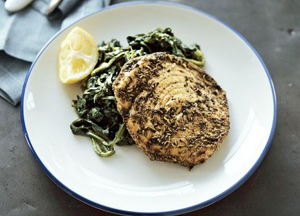 Spiced swordfish with spinach