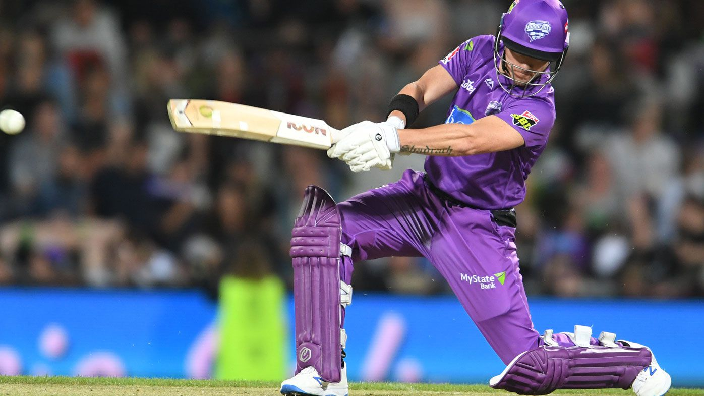 D'Arcy Short of the Hobart Hurricanes at the crease in Tasmania.