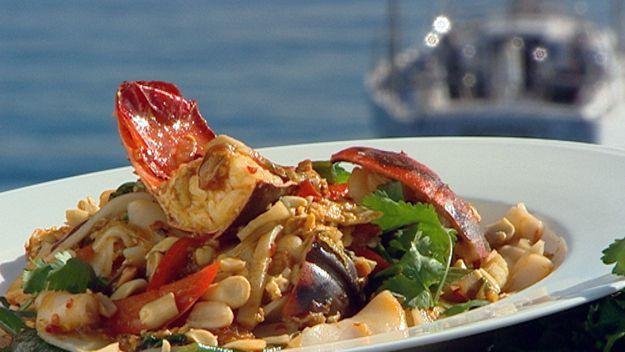 Rock lobster with drunken noodles