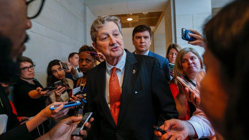 publican Senator from Louisiana John Kennedy arrives to view documents in the Senate Sensitive Compartmented Information Facility in Washington.