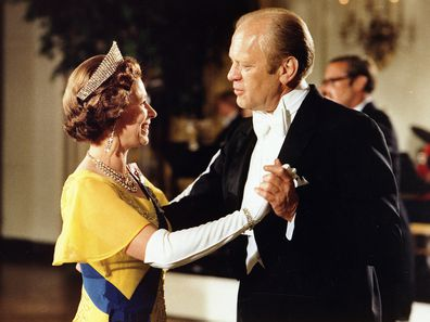 Gerald Ford (1913-2006) 38th President of the United States 1974-1977, dancing with Queen Elizabeth II