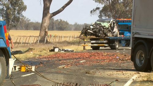 Two parents and their three children were driving near Rutherglen when their car was struck by the truck.