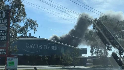 Plumes of smoke are emerging from the factory. (Casey Viney via Facebook)