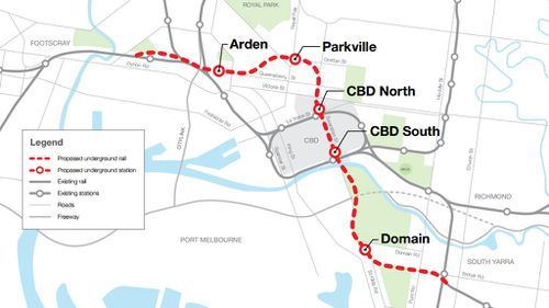 Five new train stations are planned for the Melbourne Metro Rail Tunnel project. (Public Transport Victoria)