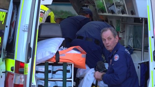 The father was flown to the Royal North Shore Hospital in a serious condition and the child taken by road with minor injuries. Picture: 9NEWS.