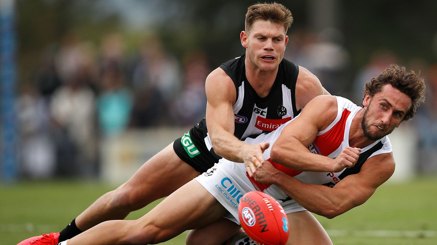 Collingwood's Taylor Adams goes down with groin injury in loss to St Kilda