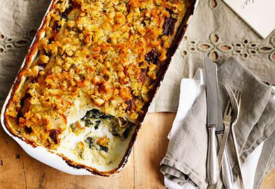 Potato, leek and silverbeet gratin