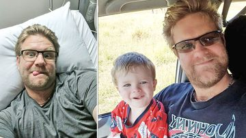 Tristan Hardwick, who is a father to three-year-old Seth, was diagnosed with stage three bowel cancer in November last year. (Supplied)