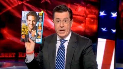 """Watch: """"Angry"""" Stephen Colbert slams Sexiest Man Bradley Cooper"""