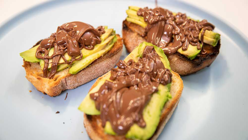 Choc avo toast is a trend
