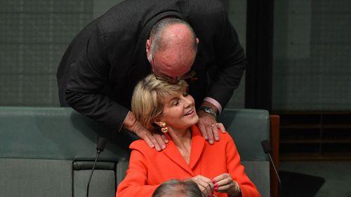 Warren Entsch embraces Julie Bishop in Parliament soon after last year's leadership spill.