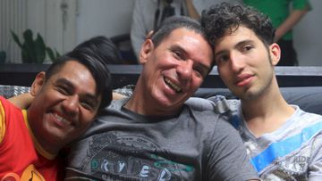 Alejandro Rodriguez Ramirez (left to right), Manuel Jose Bermudez Andrade and Victor Hugo Prada sitting together in Medellin, Colombia. (AFP)
