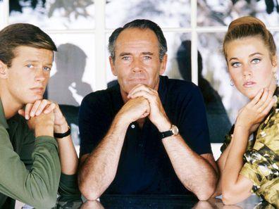 Peter Fonda, Henry Fonda and Jane Fonda in 1963.