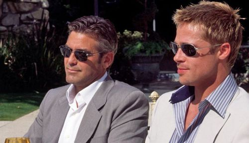 George Clooney and Brad Pitt in a scene from the heist movie Ocean;s Eleven.